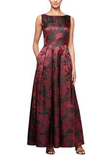 Alex Evenings Floral Print A-Line Gown