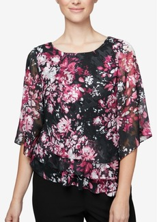 Alex Evenings Floral-Print Tiered Top, Regular & Petite