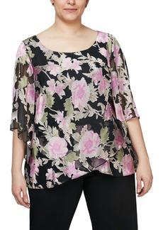 Alex Evenings Floral Scoop Neck Blouse (Plus Size)