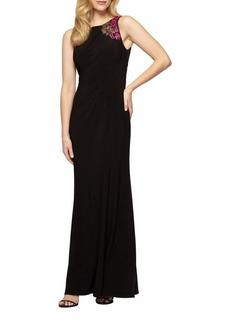 Alex Evenings Floral Sleeveless Floor-Length Dress