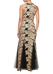 Alex Evenings Flower Embroidered Gown