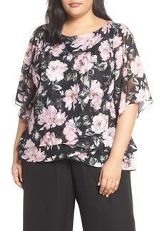 Alex Evenings Flutter Sleeve Chiffon Blouse (Plus Size)