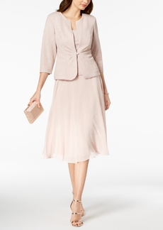 Alex Evenings Glitter A-Line Midi Dress & Jacket