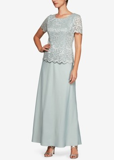 Alex Evenings Glitter Lace & Solid A-Line Gown
