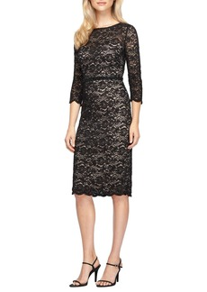 Alex Evenings Glitter Lace Midi Dress (Regular & Petite)