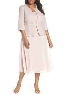 Alex Evenings Glitter Tea Length A-Line Dress with Jacket (Plus Size)