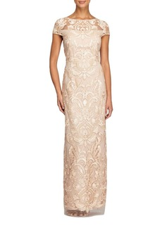 Alex Evenings Illusion-Lace Column Gown