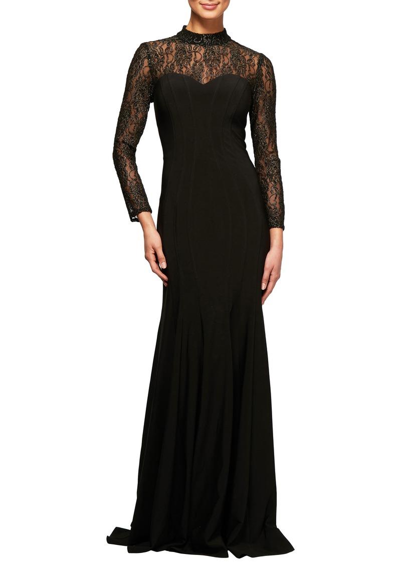 Alex Evenings Alex Evenings Illusion Lace Fit & Flare Gown | Dresses