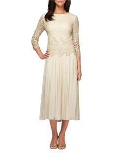 ALEX EVENINGS Illusion Lace Tea-Length Dress
