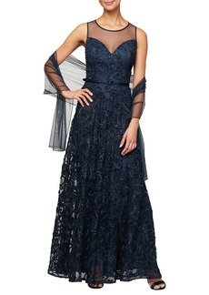 Alex Evenings Illusion Neck Soutache Evening Dress with Wrap (Regular & Petite)
