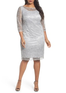Alex Evenings Illusion Sleeve Cocktail Dress (Plus Size)