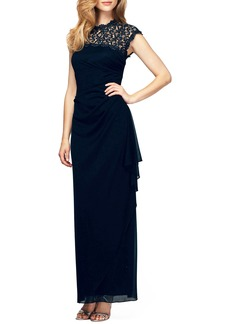 Alex Evenings Illusion Yoke Mesh Gown (Regular & Petite)