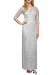 Alex Evenings Illusion Yoke Sequin Lace Column Gown