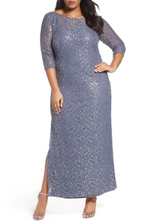 Alex Evenings Illusion Yoke Sequin Lace Column Gown (Plus Size)