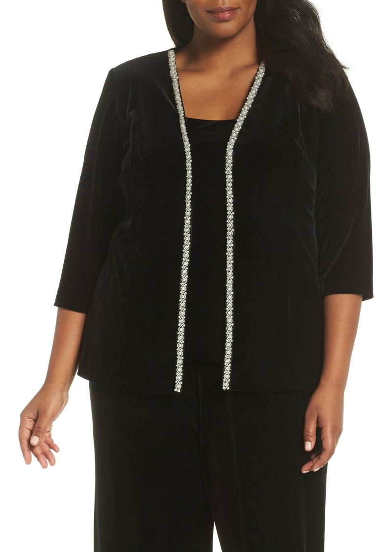 Alex Evenings Imitation Pearl Embellished Twinset (Plus Size)