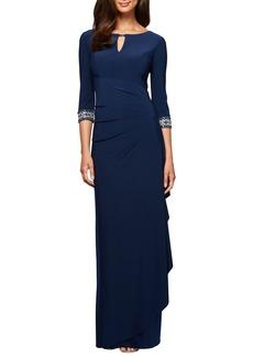 Alex Evenings Jeweled Cuff Column Gown