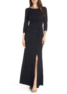 Alex Evenings Knot Front Sequin Jacquard Evening Dress (Regular & Petite)