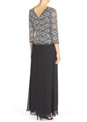 Alex Evenings Lace & Chiffon Mock Two-Piece Gown (Regular & Petite)