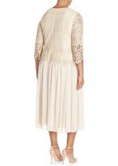 Alex Evenings Lace & Chiffon Tea Length Dress (Plus Size)
