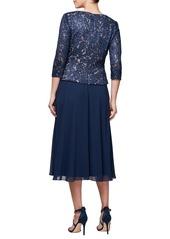 Alex Evenings Lace & Chiffon Tea Length Dress (Regular & Petite)