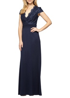 Alex Evenings Lace & Jersey A-Line Gown