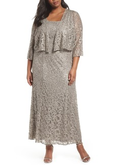 Alex Evenings Lace & Sequin Jacket Dress (Plus Size)