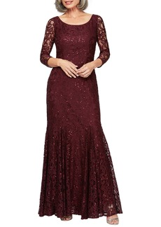 Alex Evenings Lace & Sequin Trumpet Gown