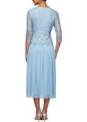 Alex Evenings Lace & Tulle Popover Dress