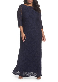 Alex Evenings Lace A-Line Gown (Plus Size)