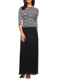 Alex Evenings Lace and Sequin-Bodice Column Dress