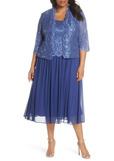 Alex Evenings Lace Bodice Dress with Jacket (Plus Size)