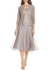Alex Evenings Lace Bodice Tea Length Dress with Jacket (Regular & Petite)