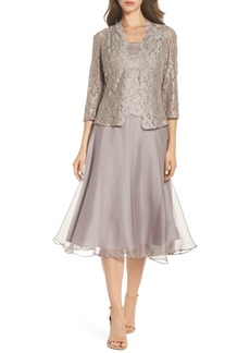 Alex Evenings Lace Bodice Tea Length Dress with Jacket (Regular & Petite)