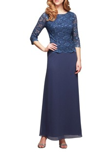 Alex Evenings Lace Chiffon Gown