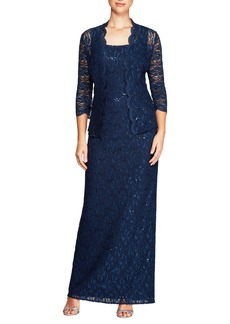 Alex Evenings Lace Column Gown with Jacket