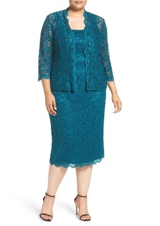 Alex Evenings Lace Dress & Jacket (Plus Size)