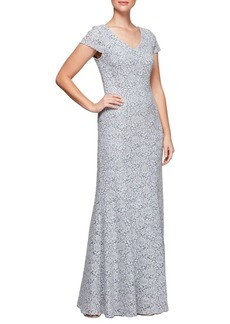 Alex Evenings Lace Fit-and-Flare Gown