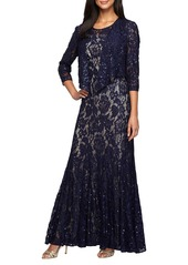 Alex Evenings Lace Gown with Jacket