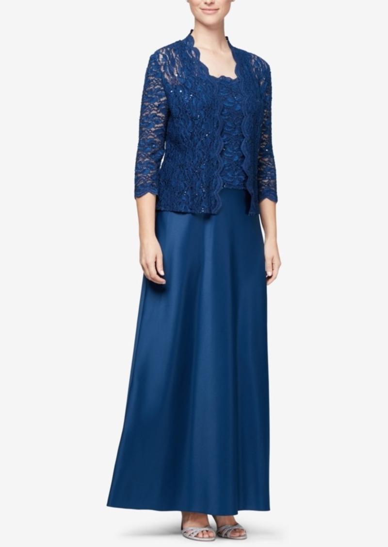 Alex Evenings Lace Jacket & Satin Gown