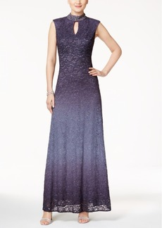 Alex Evenings Lace Mock-Neck Sparkle Gown