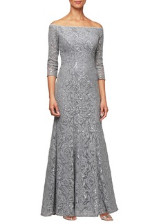 Alex Evenings Lace Off the Shoulder Evening Dress