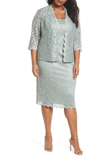 Alex Evenings Lace Sheath Dress & Jacket (Plus Size)