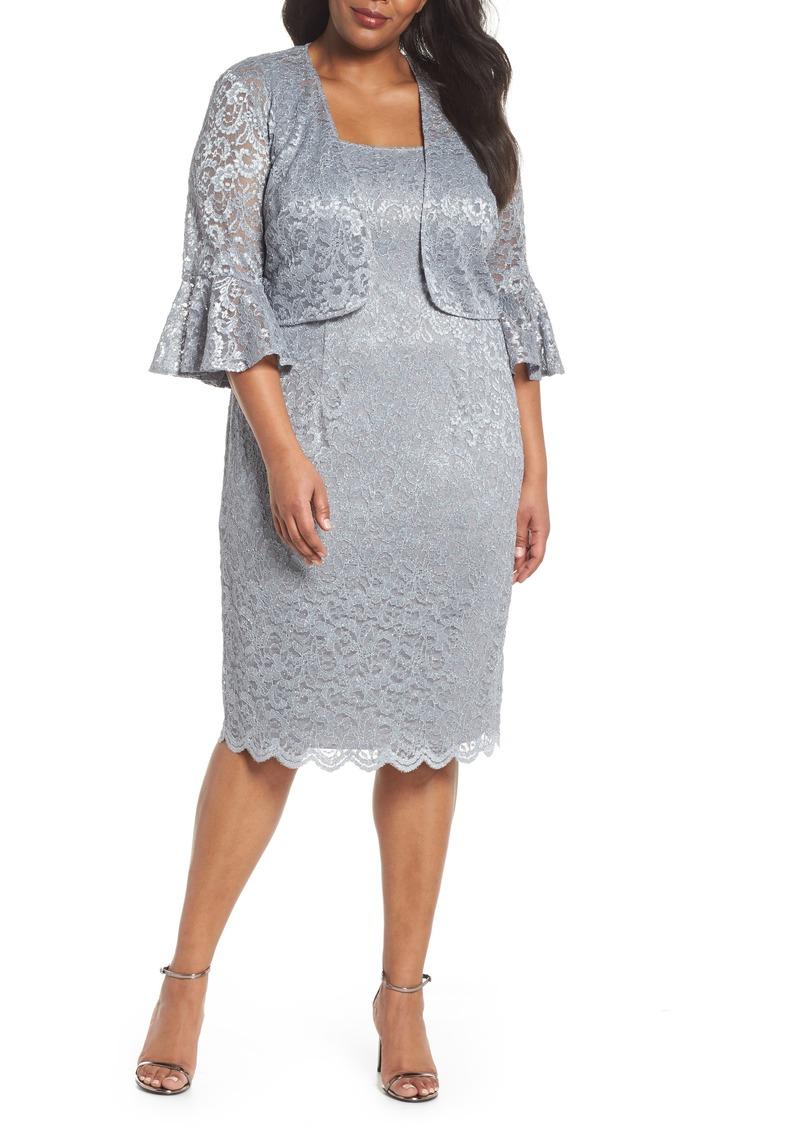 Alex Evenings Alex Evenings Lace Sheath Dress with Bolero Jacket (Plus  Size) | Dresses