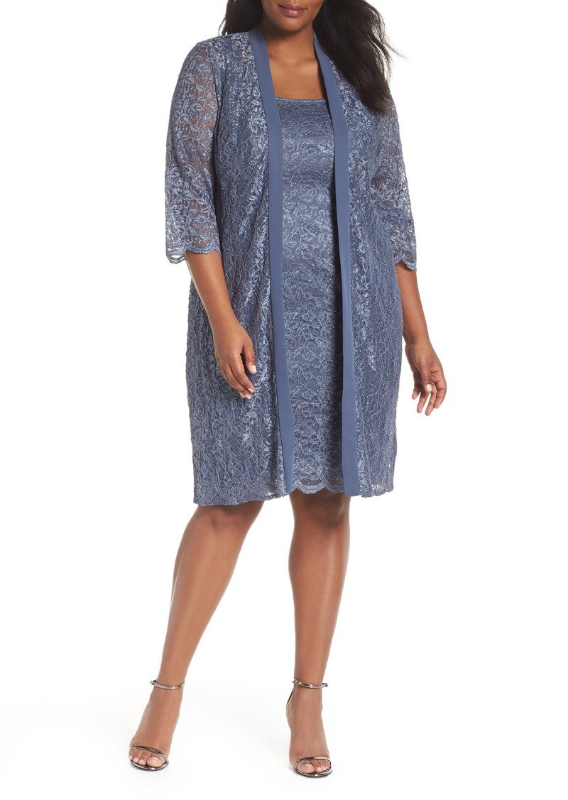 cbb2e00e4b2 Alex Evenings Alex Evenings Lace Sheath Dress with Jacket (Plus Size ...