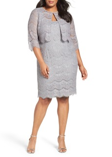 Alex Evenings Lace Sheath Dress with Jacket (Plus Size)