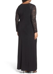 Alex Evenings Lace Sleeve Surplice Gown (Plus Size)