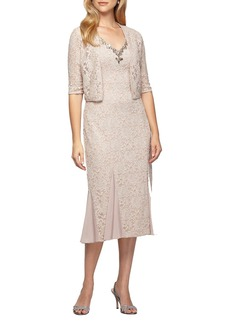 Alex Evenings Lace Tea Length Dress with Bolero Jacket