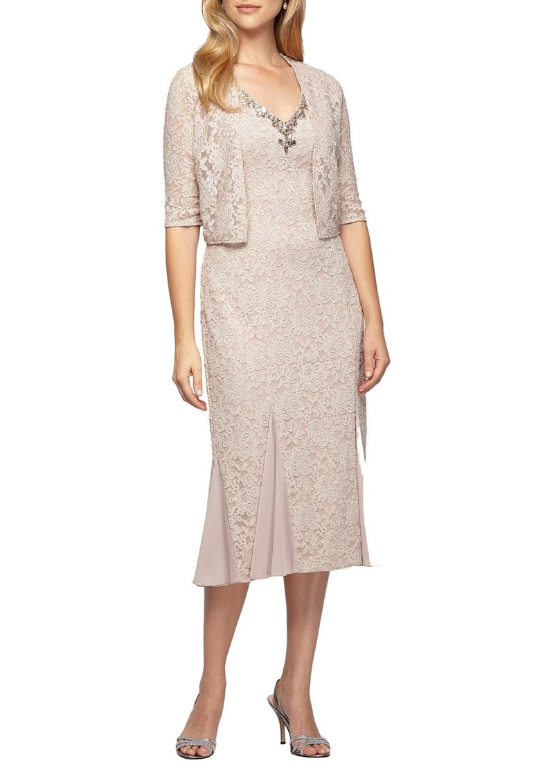 Alex Evenings Lace Tea Length Dress with Bolero Jacket (Regular & Petite)