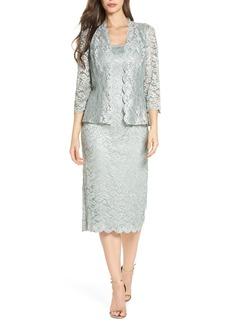 Alex Evenings Lace Tea Length Dress with Jacket
