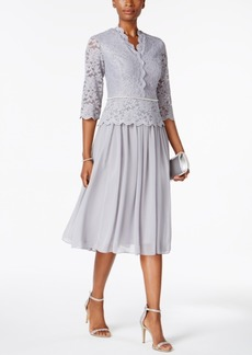 Alex Evenings Lace Three-Quarter-Sleeve Dress